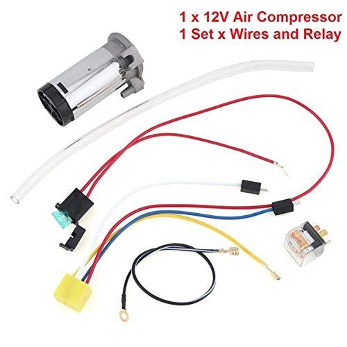 Xuping shop 17 Pulgadas de 12V / 24V 150dB Muy Ruidoso Cables Kits compresor de Aire Horn y el relé del compresor + + Cuerno de Aire Individual Trompeta Cuerno de Camiones (Color : Compressor Wires)