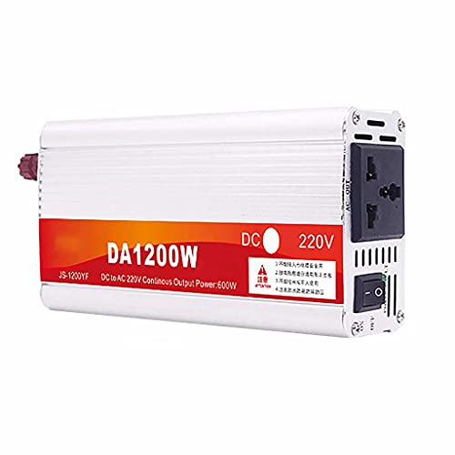 SJZD Inversor para vehículos DC 12V 24V 48V 60V a AC 220V, convertidor de Voltaje inversor de vehículo con Enchufe y Pantalla LCD, 24V-1200W