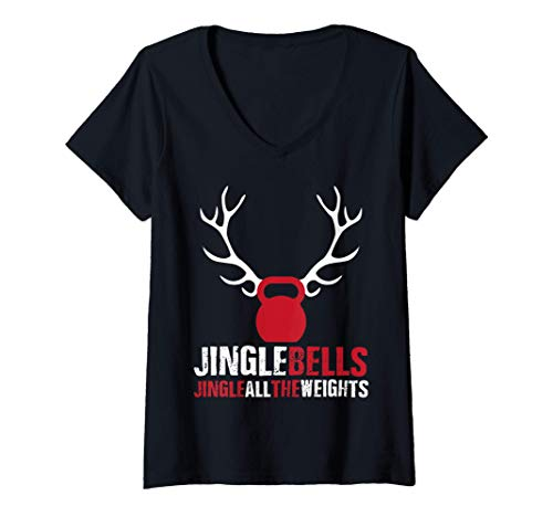 Mujer Jingle bells Christmas Fitness Kettle Bell Workout Camiseta Cuello V