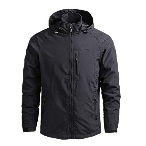 N\P Abrigo de primavera y verano para hombre, cortavientos, chaqueta fina, abrigo deportivo con capucha Blcak XXL