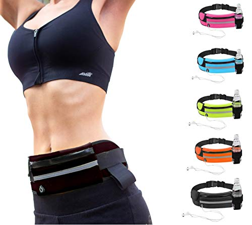 Yaluvme Slim Running Belt, Bounce Free Running Fanny Pack for Women and Men, Running Belt for Phone, Running Pack for Running Accessories for iPhoneXS Max, iPhone 8 Plus in Running Gym Marathon Cycling (Black)