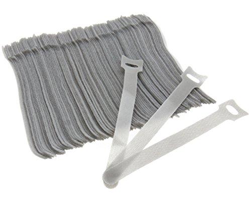 Yinettech Kabelbinder, wiederverwendbar, verstellbar, Grau, 100 Stück