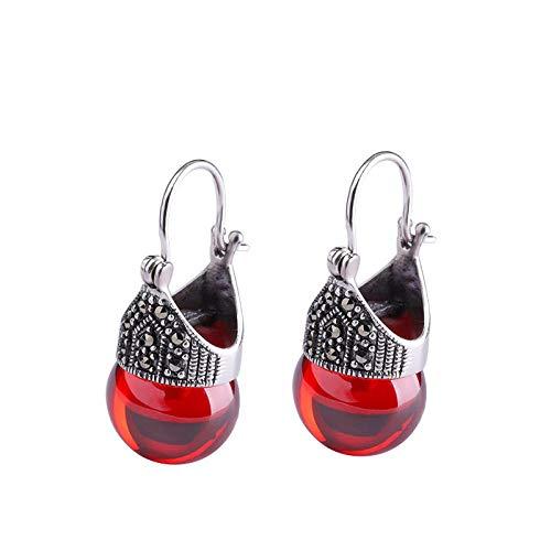 Pendientes Vintage De Plata Esterlina S925 Para Mujer, Pendientes De Perlas De Circonitas Negras, Similares A La Corona Del Emperador: Rojo