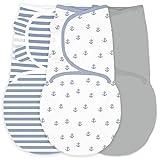 Amazing Baby by Swaddledesigns, Set de 3 Mantas Ajustables Para Bebé, Anclas...