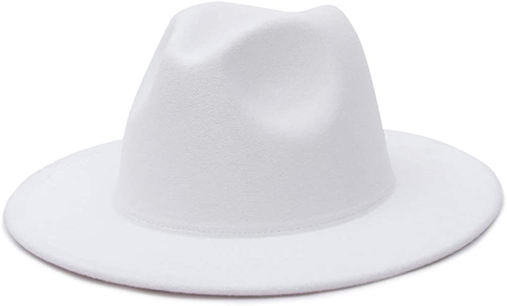 EOZY Wool Felt Fedora Hat for Women Mens Wide Brim Felt Trilby Hat White Fedora Caps Leather Buckle Band Jazz Hat