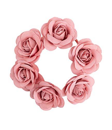 SIX Haargummi mit Rosen aus Stoff [stylisches Blumen Design] – Haarschmuck für Damen – Modisches Haarband » elastisch & praktisch « Frauen Haarseil – Premium Zopfgummi - Zopfband (485-647)