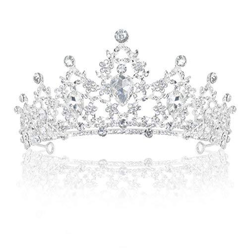 Delleu Hochzeit Tiara Kristall Strasssteine Tiara Krone Kamm Festzug Prinzessin Silber Krone