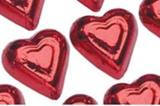 Red Foil Wrapped Solid Milk Chocolate Hearts - 1 Pound