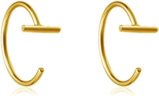 Minimalist Gold Plated Mini Stick T Bar Half Huggie Hoop Cuff Stud Earrings 925 Sterling Silver Simple Small Hoops Cartilage Geometric Piercing Studs for Women Girls Christmas Gifts