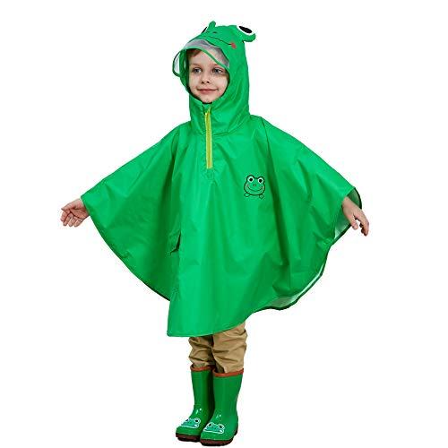 LIVACASA Poncho Antipioggia Bambino Impermeabile Bambina Mantella Pioggia Bimbo con Cappuccio Traspirante Leggero per I Bambini 4-8 Anni Verde(Rana) Marca M 4-6 Anni/Statura: 90-110cm