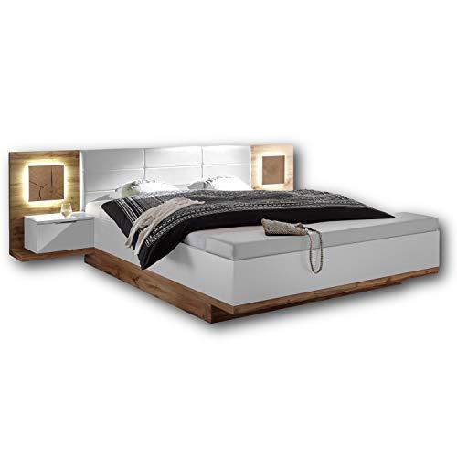 Capri Stilvolle Doppelbett Bettanlage mit Bettkasten & LED-Beleuchtung 180 x 200 cm - Schlafzimmer Komplett-Set in Wildeiche-Optik, Weiß - 305 x 100 x 239 cm (B/H/T)