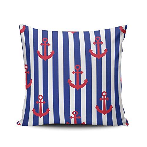 phjyjyeu Fundas de almohada cuadradas de 40,6 x 40,6 cm, diseño de anclajes rojos y rayas azules