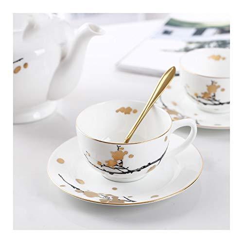 Xu Yuan Jia-Shop Tazas de Espresso Copa de café Espresso de cerámica Blanca y platillos de Plum Flor de té de Porcelana para Mujer Mamá Abuela Regalos, 5,9 onzas Juegos de Cafe de Porcelana