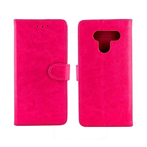 PROTECTIVECOVER+ / for LG Q60 / K50 Crazy Horse Texture Horizontal Flip Funda de cuero con soporte y ranuras tarjetas y marco de la billetera , Fashion Phone Funda Para Protector ( Color : Magenta )