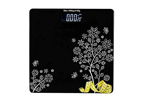 KWT Electronic Thick Tempered Glass LCD Display Digital Personal Bathroom Health Body Weight Weighing Scales For Body Weight, Digital Weighing Machine(Flower Design Bathroom Scale) (flower)