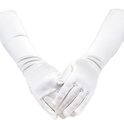 Satin Long Child Size Girls Formal Gloves (0 - 3, White)