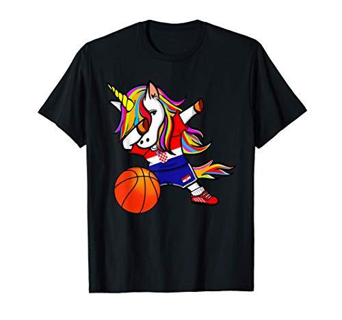 Dabbing Unicorn Kroatien Basketball - Kroatische Flagge T-Shirt