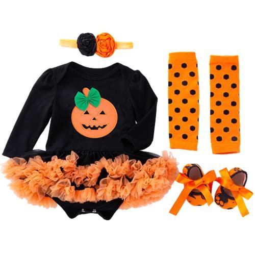 TMOYJPX Disfraces Niña Halloween Disfraz Mono Niño 0-24 Meses Invierno, Conjunto Ropa Bebe Niña, Mameluco de Falda+Banda de Pelo+Calcetines (0-3 meses, Calabaza~D)