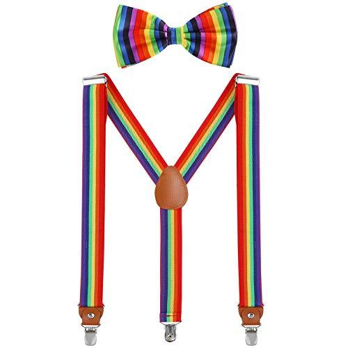 WELROG Herren Hosenträger Fliege Set - Solide Farbe Elastisch Y Gestalten mit Stark Clips Verstellbare Hosenträger (Regenbogen)