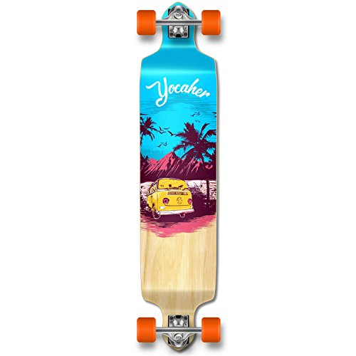 Yocaher New VW Vibe Beach Series Longboard Complete Cruiser and Decks Available for All Shapes (Complete-DropDown-Blue)