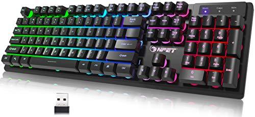 NPET K11 Wireless Gaming Keyboard, Rechargeable Backlit Ergonomic Water-Resistant Mechanical Feeling Keyboard, 2.4G Wireless Ultra-Slim Rainbow LED Backlit Keyboard for PS4, Xbox One, Desktop, PC