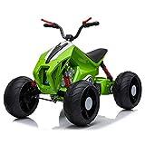 BAHOM Electric Ride On ATV Car 12V 10AH for Kids, 7-Shaped LED Headlights, Threaded Wheels, Spring (Green)