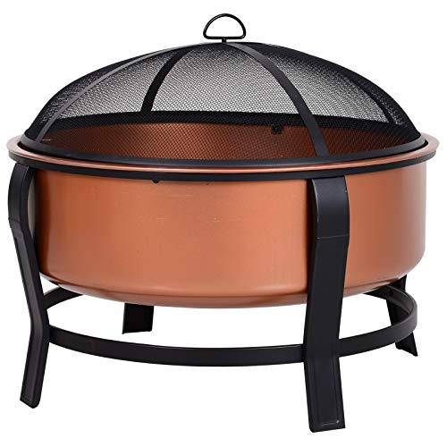 Outsunny Copper-Colored Round Basin Wood Fire Pit Bowl with Organic Black Base, Log Grate, Wood Poker, & Mesh Screen for Embers