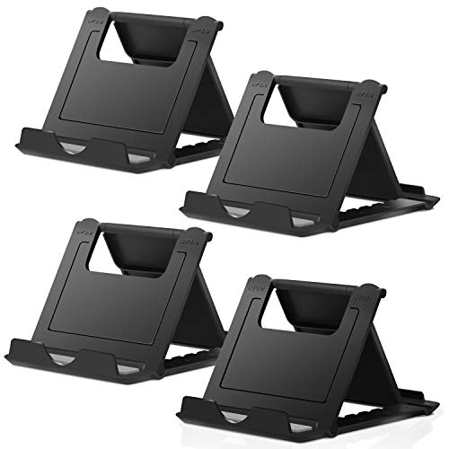 Elimoons 4 Pack Cell Phone Stands, Universal Foldable Tablet Stand Multi-Angle Pocket Desktop Holder Cradle Compatible with iPhone 11 Pro Xs Max X 8 7 6s Plus, All Android Smartphones Tablets (6-10')