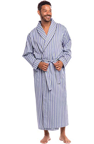 Alexander Del Rossa Mens Lightweight Cotton Robe, Small Light and Dark Blue Striped (A0715R62SM)