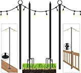 Espird String Light Poles for Outdoors,Christmas Decoration Poles for String Lights,3 in 1 Light Poles with Hooks for Deck Garden Patio Wedding Cafe Party (2PCS)