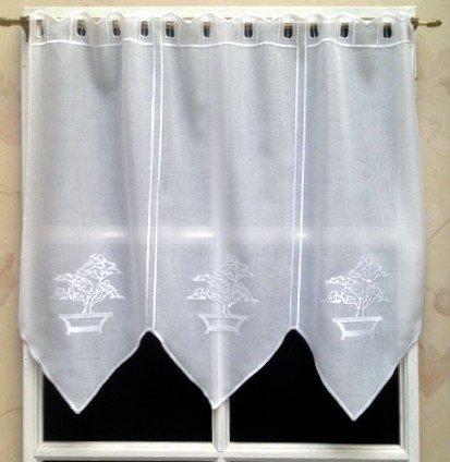 Rideau Brise bise Etamine 58 cm Blanc Brodé