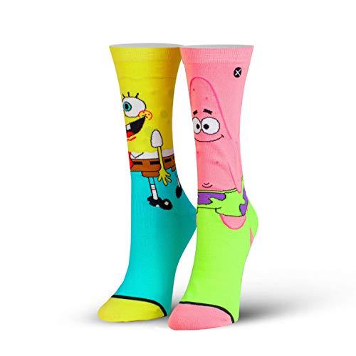 ODD SOX Damen Crew Socken - Spongebob & Patrick (Spongebob Schwammkopf)-(EU 36-41)