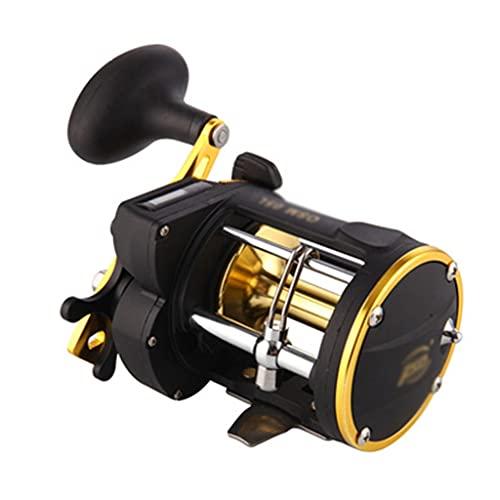 Carrete De Pesca con Rueda De Placa De Hierro De Pesca En Mar De Tambor Giratorio Contrario, Pesca De Metal Ahora (Color : Black Gold)