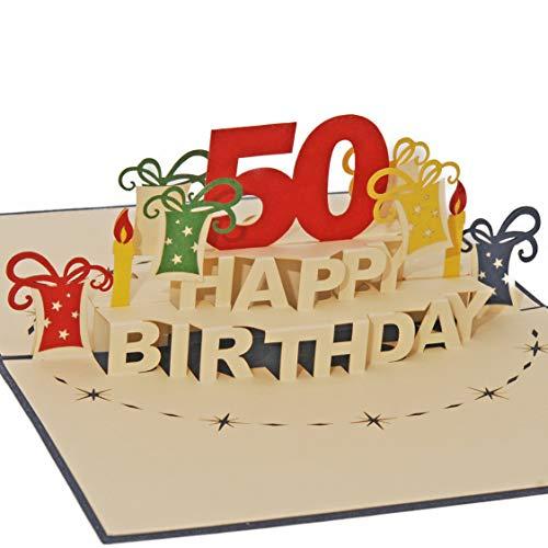 Favour Pop Up - Biglietto Di Auguri Pop Up Per Il 50°  Compleanno. Un'Opera D'Arte In Filigrana, Che Si Dispiega All'Apertura Del Cartoncino Blu. TA50B.