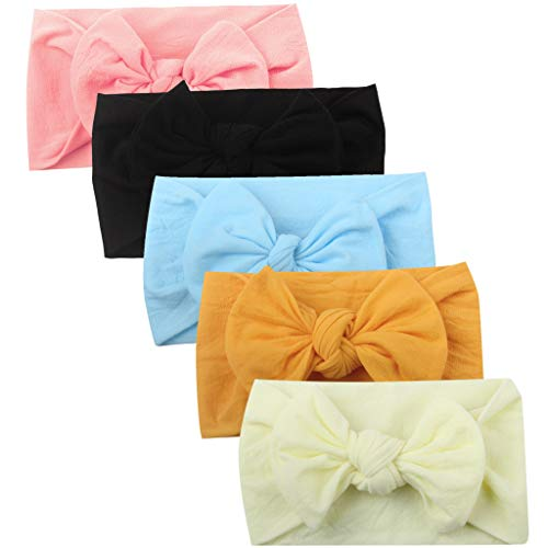 Huhu833 Baby Stirnbänder, 5 Stück Cute Baby Kleinkind Infant Circle Stirnband Stretch Haarband Headwear (5 Pcs E)