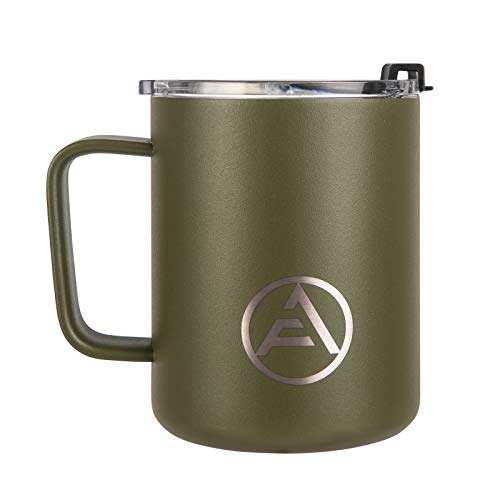 EAF Stainless Steel Coffee Mug with Handle, Double Wall Insulated Travel Mug Camping, 12 oz Coffee Tumbler Cup for Home Office Outdoor Hot Cold Water Beer Wine Soda - Powder Coated Army Green