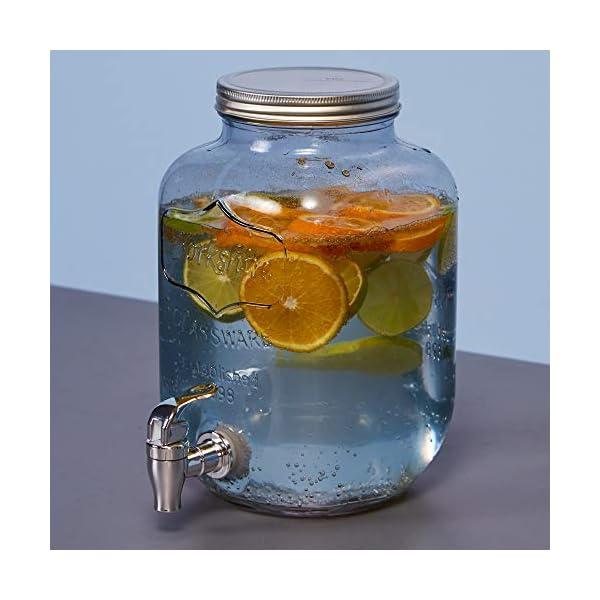 Schou Dispensador Bebida con Grifo de 4 l, Multicolor, 14.5×14.5×26.5
