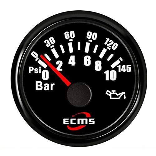 WATPET Tacómetros de reemplazo automotriz 52mm 2 '' Indicador del medidor de presión de Aceite Marino del Motor 0-10bar 0-145Psi 12V 24V con luz de Fondo automotor