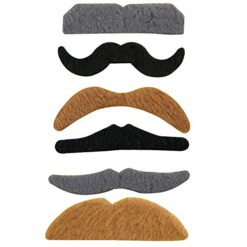 TRIXES Ensemble de 6 Fausses Moustaches Autocollantes Assorties pour Déguisement