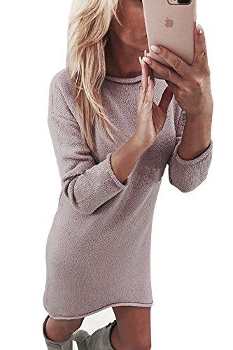 Yidarton Overzised Pullover Damen Winterkleid Pulloverkleid Strickkleid Damen Strickjacke Tops Bluse Frauen Asymmetrischer Langarm Minikleid für...