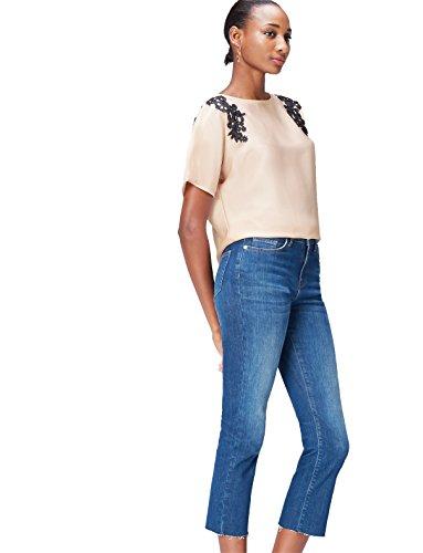 find. Damen Bluse mit Samt-Look und Blumenstickerei, Beige (Champagne), 38 (Herstellergröße: Medium)