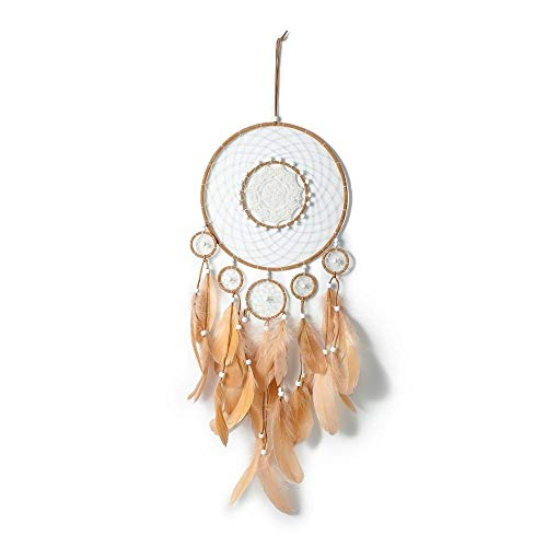 Rails Flowers Dream Catcher Wall Decoration Brown Dream Catcher Charm Handmade Dream Xatcher for Apartment Dorm Room Bedroom Living Room Decoration,32.76x9.75in