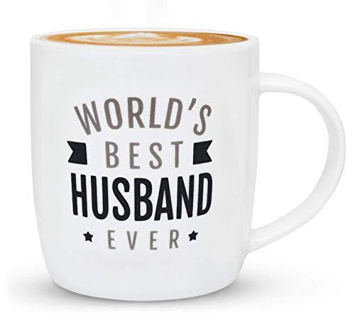 Gifffted Kaffeetasse Beste Ehemann-Geschenke von der Frau, Mann Geburtstag, Jahrestag, für Valentinstag Geschenkideen, Weihnachtsgeschenke, Weihnachten Geschenk, Vatertag Tasse, 380 ML
