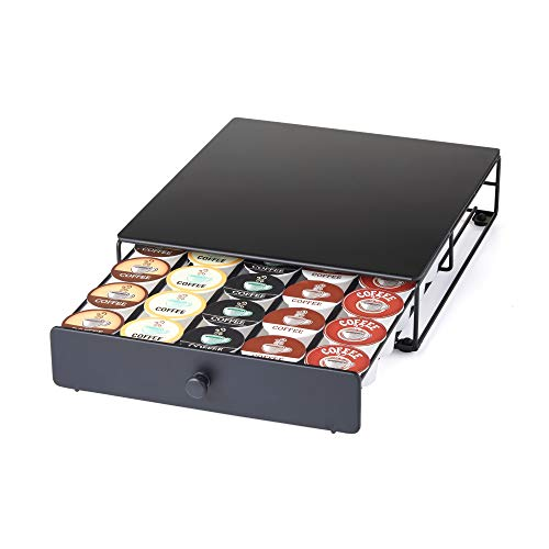 Nifty Coffee Pod Drawer – Black, 30 K-Cup Pod Pack Holder, Non-Rolling, Compact Under Coffee Pot...
