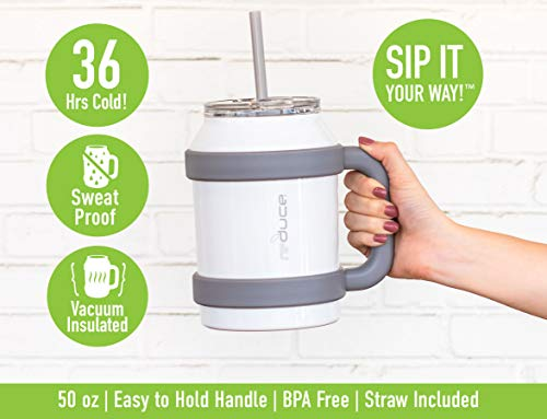 Reduce Tumbler, 50 oz – Stainless Steel Insulated Large Mug With Straw, Lid and Handle – 36 Hours Cold – For Cold and Hot Drinks – Sweat-Proof Body, Dishwasher Safe – Mild Mint, Opaque Gloss
