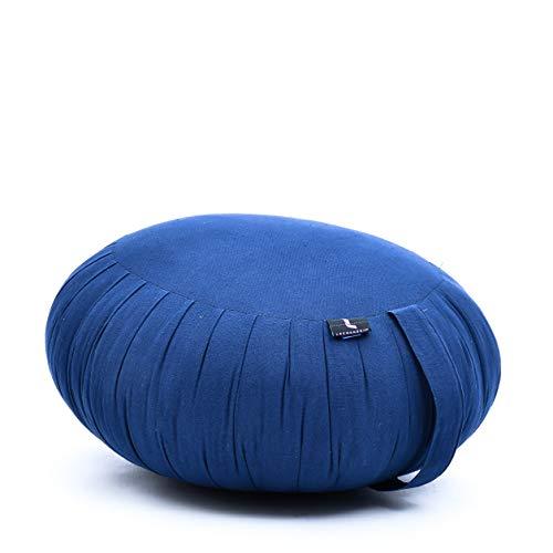 Leewadee Meditationskissen Yogakissen Zafu Ökologisches Naturprodukt, 40x20 cm, Kapok, blau
