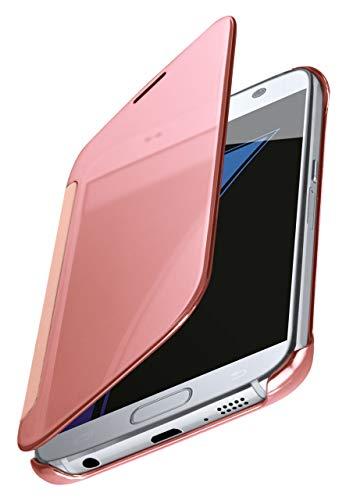 MoEx® Dünne 360° Handyhülle passend für Samsung Galaxy S7 | Transparent bei eingeschaltetem Display - in Hochglanz Klavierlack Optik, Rose-Gold