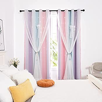 Hughapy Star Curtains for Girls Bedroom Kids Room Decor Light Blocking Voile Overlay Princess Star Hollowed Curtain Colorful Striped Layered Window Curtain 1 Panel  52W x 84L Pink / Purple