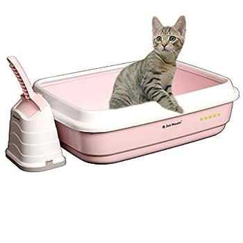 Joli Moulin Litière pour chat exclusive ouverte avec rebord 40 x 50 x 15 cm Set avec pelle à litière et récipient hygiénique non toxique pour l'environnement Rose