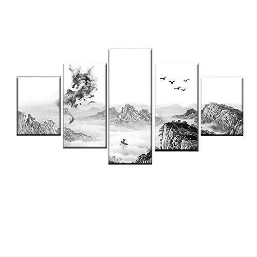 DGGDVP 5 Paneles de Pintura de Tinta China Cartel Moderno Arte de la Pared para Sala de Estar Pintura Abstracta Lienzo Imagen Modular decoración del hogar tamaño 2 sin Marco